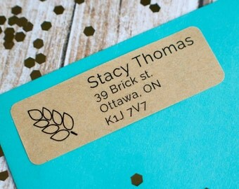 wheat plant natural return address sticker custom brown kraft label