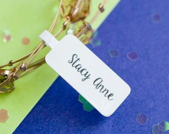 Custom jewelry tags- white vinyl sticker laminated full color double sided printing - logo on white design