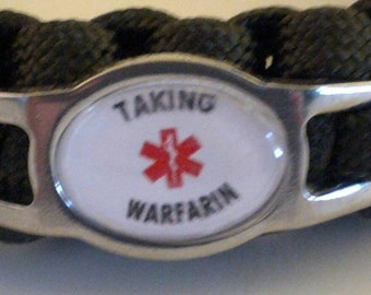 Warfarin Paracord Medical Alert  Bracelet, coumadin, Blood Thinner, Free Shipping.