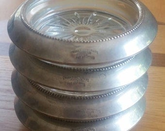 Frank M. Whiting Sterling Silver and Glass Coasters Set of 4 Beaded Rim