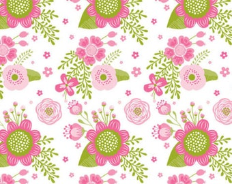 """Pink Flowers / Floral Tissue Paper # 345 / Gift Wrap - 10 Large sheets 20"""" x 30"""""""