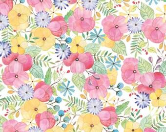 """Flower Petal Tissue Paper # 385 ... 10 large sheets - Pastel Watercolor Floral -- 20"""" x 30"""""""