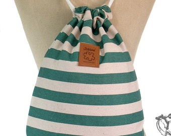 Striped drawstring bag Canvas Backpack mint green Hip bag Laptop bag Handmade bag