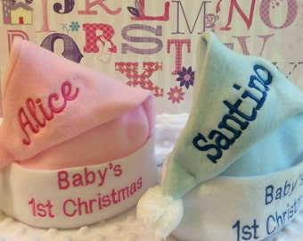 Baby's 1st Christmas Christmas Stocking Cap Santa Hat  - Personalized