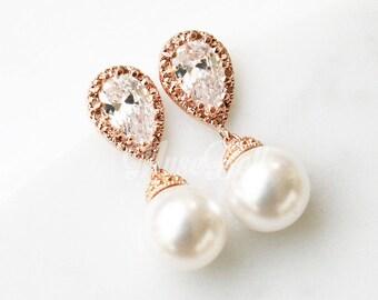 Rose gold wedding earrings, Swarovski White Pearl Earrings, Bridal Earrings, CZ Earrings, Dangle Earrings, Bridesmaid Gift, Stud earrings