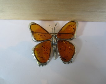 Sterling Silver Amber Butterfly Brooch, Large Butterfly Jewellery