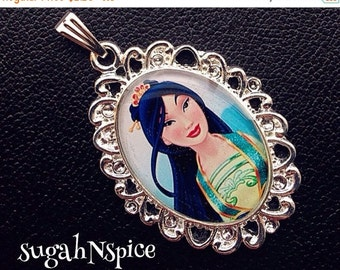 Back to School Sale Disney Princess Mulan Necklace Pendant Cabochon for Chunky Bubblegum necklaces