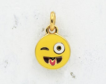 Crazy Face Emoji Charm / Pendant, Gold