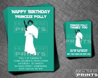Princess Leia Birthday Invitation and Thank You Card - Star Wars - Darth Vader