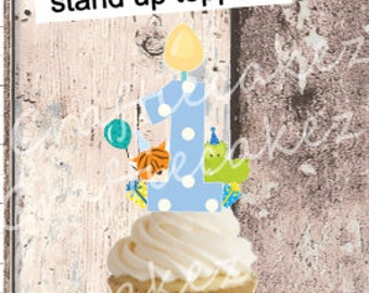 24 x Pre Cut Edible Boys Number 1 Stand Up Cupcake Toppers
