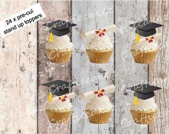 24 x Pre Cut Edible Graduation Cupcake Toppers