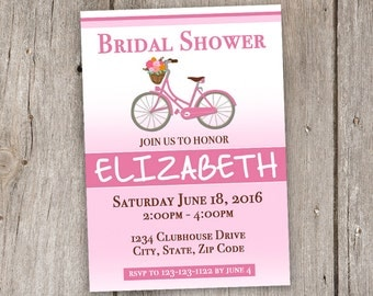 Vintage Bicycle/Pink/White/Brown/5x7/Bridal Shower/Invitation