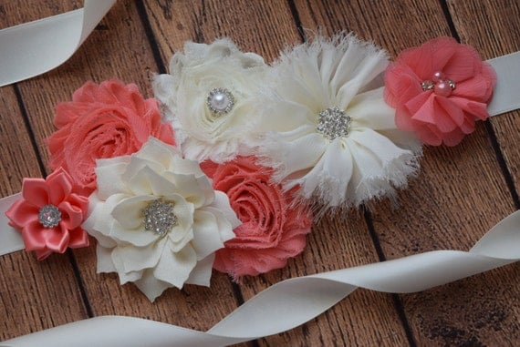 Sash, coral and ivory Sash,  flower Belt, maternity sash