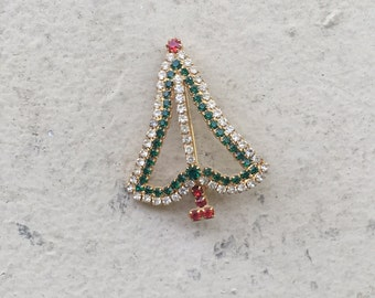 Vintage Gold Rhinestone Jeweled Christmas Tree Brooch Pin Red Green White