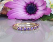20% off- SALE!! Lavender Amethyst Ring - Half Eternity Ring - Gemstone Ring - Gold Ring - Stackable Ring - Dainty Ring - Cute Ring