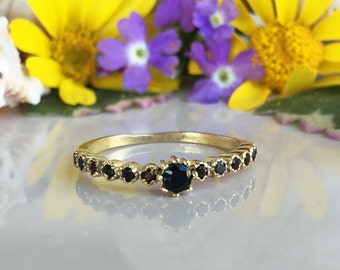 20% off- SALE!! Black Onyx Ring - Simple Jewelry - TIny Ring - Stack Ring - Gold Ring - Dainty Ring - December Birthstone - Onyx Jewelry
