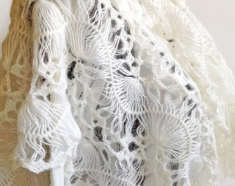 "Women gift Sale Made to order Shawl ""White""/ Hairpin lace loom Shawl/ Hairpin Lace Loom Palatine/ White Lace Palatine/ White Lace Shawl/ ..."