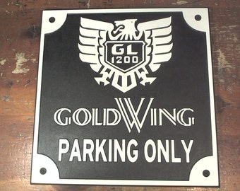 Honda GL1200 classic Goldwing parking only engraved sign man cave garage motorcycle