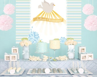 Religious Blue Dove Personalized Backdrop -Baptism Cake Table Backdrop Birthday-Communion Backdrop