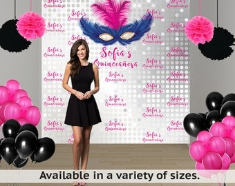 Masquerade Party Personalized Photo Backdrop -Mask Photo Backdrop- Step and Repeat Large Photo Backdrop, Masquerade Ball Backdrop