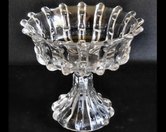 Antique Pressed Glass Open Compote in the Broken Column pattern by US Glass