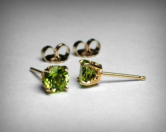 14K Peridot Earrings Studs, Genuine AAA Peridot Stud Earring, 14K Yellow 14K White Gold Studs, Peridot Jewelry, August Birthstone Earrings