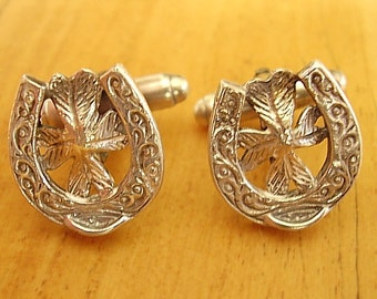 One Pair Sterling Silver Horseshoe Lucky Clover Cufflinks In Presentation Box