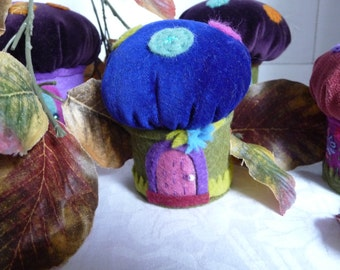 """Blue Velvet Pixie Toadstool :Pin Cushion Hand Embroidered  3"""" 8cms"""
