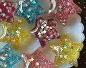 35mm Resin Star Glitter Cabochons - Glitter Star Resin Flat Backs, Kawaii Stars