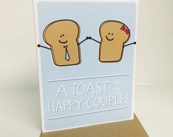 """A Toast To the Happy Couple, A2 size (4.25"""" x 5.5"""") by Tiny Gang Designs. Engagement Card. Wedding Card. Toast Card. Blank Card."""