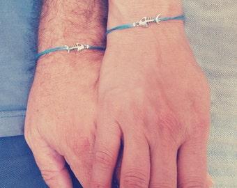 Couples Gift Set, Fish Bracelets, Boyfriend Girlfriend, Love Message, Cord Bracelet, His And Hers, Couples Gift,Couples Jewelry,Card Jewelry