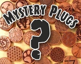 Pair Of Mystery Design Plugs [Organic cherrywood / wood stretchers 8mm - 50+mm] price per pair
