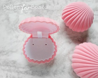 PINK | Flocked Velvet Seashell Ring Box Beach Themed Earring Holder Mermaid Necklace Case Jewelry Packaging Supplies ∙ 1pc