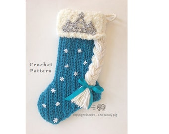 Winter Princess Christmas Stocking - PDF CROCHET PATTERN