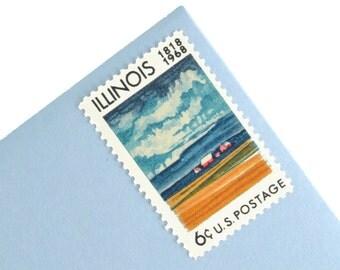 25 Illinois Stamps - 6c - Vintage 1968 - Unused Postage - Quantity of 25