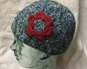 Crochet Beanie w/flower