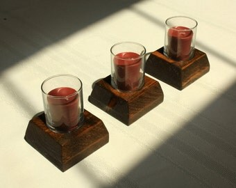 Wood Votive Candle Holder-Tealight Candle Holder-Rustic Votive Candle Holders Set of 3