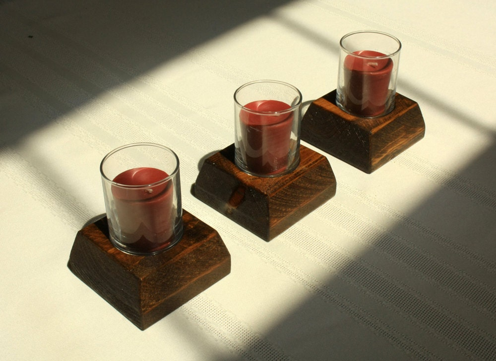 Wood votive candle holder tealight candle holder rustic votive for Used candle holders