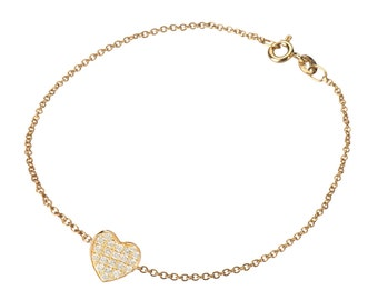 Diamond heart bracelet, 14k solid gold
