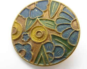 Antique Art Deco Hand Painted  Enamel Flower Button