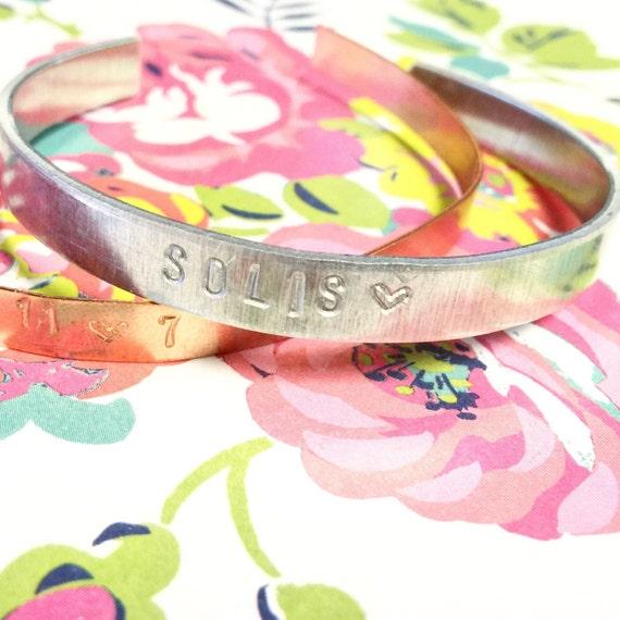 Custom Cuff Bracelet / Bridesmaid Bracelet / Metal Stamped Bracelet