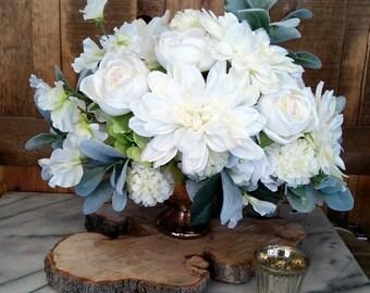 Lush Ivory Faux Floral  Arrangement- Artificial Flower Arrangement- Wedding Centerpiece