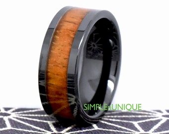Mens Wedding Band Wood Inlay Unique Ceramic Ring 9MM Engagement Black Promise