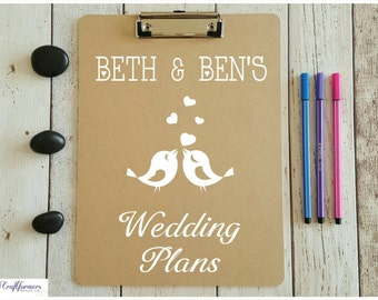 Personalised Wedding Plans Clipboard, A4 Clipboard, Engagement Gift, Stationery Gift, Wedding, Wedding Stationery, Personalised Vinyl Decal