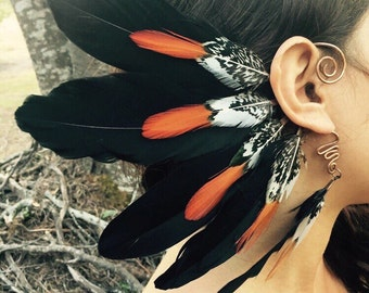 Feather ear cuff, ear wrap, tribal ear cuff, feather ear wrap, ear cuffs, burning man, boho earrings, natural feathers, tribal earrings gift