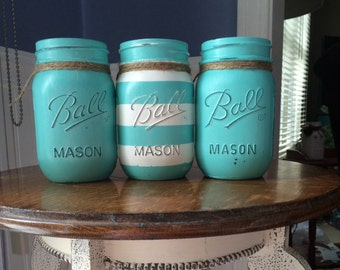 """Painted Mason Jars. Set of 3 pints. Painted in""""breakfast at tiffany's """"and covered with a pearl metallic glaze. Embellished with jute."""
