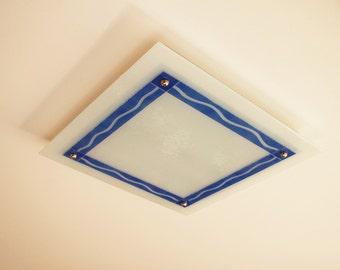 "Flush mount ceiling light, Fused glass ceiling lighting. 21"" square (~54cm), waves design"