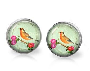 Shabby Perch Stud Back Glass Earrings