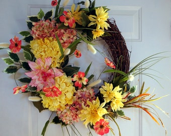 Large Fall Wreath, Door Wreath, Chrysanthemum Hydrangea  Wreath, Wreath, Fall wreath ready to ship