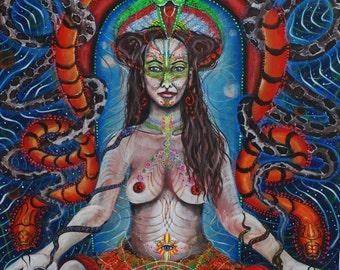 Snake Goddess,original acrylic painting with UV light